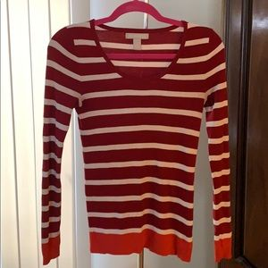 Banana Republic Red and White Stripe Sweater